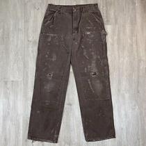 Rare Vintage Carhartt Usa Made Double Knee Dark Brown Work Pants Size 34 X 34 Photo