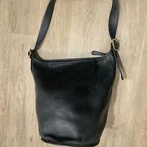 Rare Vintage Coach Black Leather Duffle 15  Feed Sac Bucket Bag Xl Fabulous Photo
