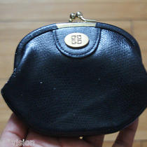 Rare Vintage Givenchy Coin Purse Black Leather W/ Gold Tone Front. Snap Lock. Photo