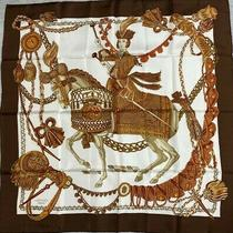 Rare Vintage Hermes Scarf Le Timbalier100% Silk Brown Gold in Box 2200 Photo