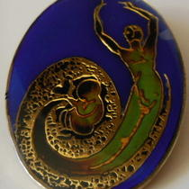Rare Vintage Mood Stone Maternity Pin Mother W Baby Art Deco Style Blue Black Photo
