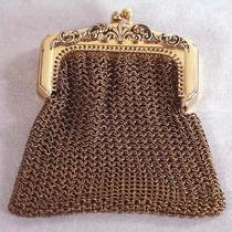 Rare Vintage Old Whiting & Davis Coin Change Purse Steel Mesh Gold Ornate Photo