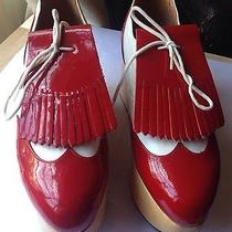 Rare Vivienne Westwood Rocking Horse Red Patent White Leather Golf Shoes Uk6 Photo
