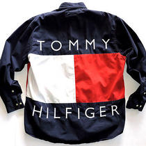 Rare Vtg 90s Tommy Hilfiger Flag Button Up Shirt M Snoop Dogg Rap Hip Hop Polo Photo