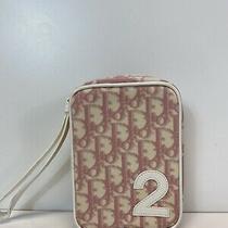 Rare Vtg Christian Dior by John Galliano Pink Trotter Monogram Wristlet Bag Photo