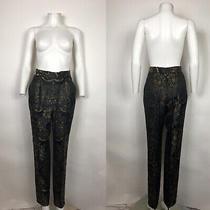 Rare Vtg Gianni Versace Black 80s 90s Jacquard Pants M Photo