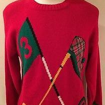 Rare Vtg Izod Lacoste Red Cotton Golf Putting Sweater Women Medium M Christmas Photo