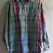 Rare Vtg Jansport 90s Grunge Blue Green Purple Long Sleeve Button Up Shirt (Xl) Photo