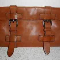 Rare Vtg Rugged Brown Fossil 1954 Leather Trifold Organizer Travel Case Roll Up Photo