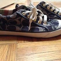 Rare Women's Coach Barrett Signature Sneakers Size 6m Denim & Leather Photo