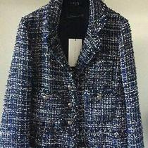 Rare  Zara Woman Navy Fantasy Frayed Blazer Jacket Metalised Size Large L New Photo