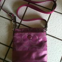 Raspberry Coach Purse Fuchsia Pink Purple Crossbody Swingpack Shoulder Bag Nice Photo