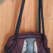 Raven Deerskin Leather Burgundy & Black  Medium Organizer Hobo Handbag Purse  Photo