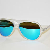 Ray Ban 4125 Cats 646/17 Transparent Blue  Mirror Sunglasses Rayban Super Sale Photo