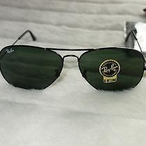 Ray-Ban Aviator Rb 3025 Large Black Metal 58mm Sunglasses New Photo