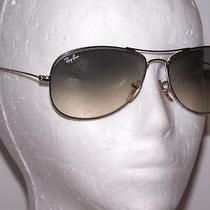 Ray-Ban Aviator Sunglasses Authentic Silver Metal Frame Blue Tint Lenses B1925 Photo
