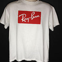 Ray Ban Mens L Tshirt Top White Red Cotton Advertising Photo