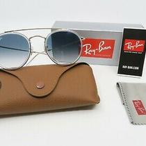 Ray-Ban Rb 3647n 9068/3f 51mm New Round Gold/ Blue Gradient Sunglasses With Box Photo