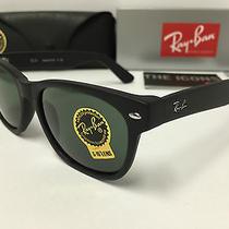 Ray Ban Rb2132 622 55mm Wayfarer Sunglasses Matte Black W/ Green Lenses G15 Photo