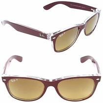 Ray Ban Rb2132 Wayfarer Sunglasses-6054m2 Bordeaux (Grad Brown Polarlens)-55mm Photo