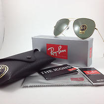 Ray Ban Rb3026 Sunglasses Aviator Gold Metal Glass Green Classic Genuine 62mm Photo