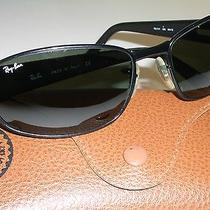 Ray Ban Rb3141 Green Uv Glass Lens Flex Hinges Black Leathers Wrap Sunglasses Photo
