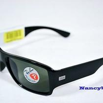 Ray Ban Rb4199 601/9a New Release Black Frame & Polarized Green Lens Sunglasses Photo