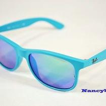 Ray Ban Rb4202 6072/3r Andy Matte Turquoise & Poly. Polar Sky Blue Sunglasses Photo