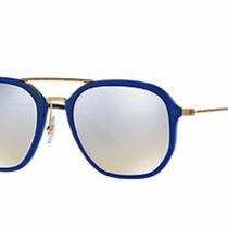 Ray Ban Sunglasses Royal Blue Bronze Silver Mirrored Flash Lens Women or Men New Photo