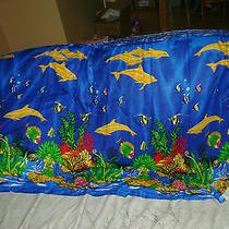 Rayon Blue Bikini Beach Cover Up Wrap Skirt Sarong Ocean Life Dolphins Photo
