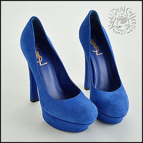 Rdc5562 Authentic Yves Saint Laurent Electric Blue Suede