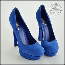 Rdc5562 Authentic Yves Saint Laurent Electric Blue Suede