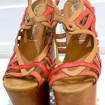 Re024 165 Jeffrey Campbell Follie Wood Platform Wedge Sandals Heels Us 9.5m  Photo
