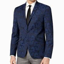 Reaction Kenneth Cole Mens Blazer Blue Size 38 Short Paisley Jacquard 1038 Photo