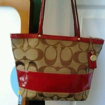 Ready for Winter Coach Handbag With Red Trim.  Photo