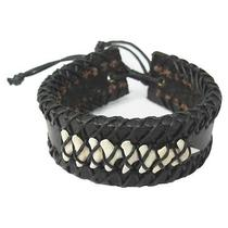 Real Authentic Shark Tooth Fossil Gothic Punk Black Leather Wristband Bracelet Photo