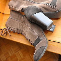 Real Suede Mid Calf Boho Chic Brown Lace Up Boot Madonna-Style Vogue Size 38 Photo