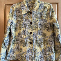 Rebecca Malone Jean Jacket Pastel Gray/yellow/white Textured Floral Size Pl Photo