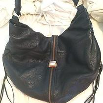 Rebecca Minkoff Black Hobo Leather Bag- W/ Gold Zipper & Fringe Detail- 500 Photo