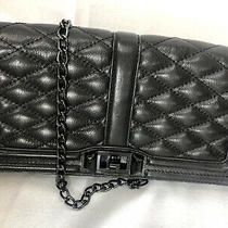 Rebecca Minkoff Chevron Quilted Love Crossbody Clutch Purse Chain Strap Black  Photo