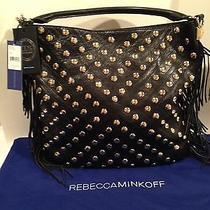 Rebecca Minkoff Clark Fringe Stud Black Leather Handbag Bag Tote 395 New Rare Photo