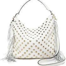 Rebecca Minkoff Clark Fringe Stud White Leather Handbag Bag Tote 395 New Rare Photo