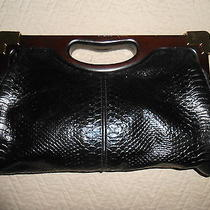 Rebecca Minkoff Designer Black Leather & Wood Clutch Photo