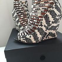 Rebecca Minkoff High End Designer Heel Wedge Black White Snake Sz 7.5 38.5 295 Photo