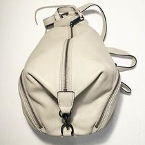 Rebecca Minkoff Julian Medium Pebbled Leather Drawstring Backpack Purse Bag Gray Photo
