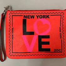Rebecca Minkoff Leather Love New York Clutch Purse Hot Orange Excellent Photo