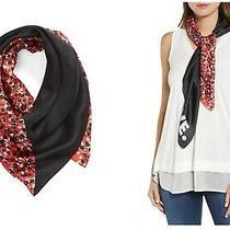 Rebecca Minkoff Love 100% Silk Red Black Square Scarf Pop Floral Bloom 32