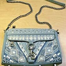 Rebecca Minkoff Mini Mac Crossbody Bag Clutch Purse Embroidered Denim Blue Jean Photo