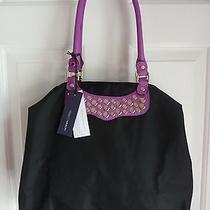 Rebecca Minkoff Nwt New 165 Purse Bag Travel Tote Studded Black Purple Trim Photo