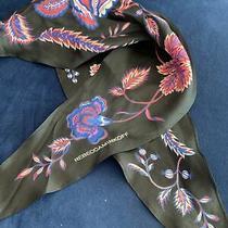 Rebecca Minkoff Silk Necktie Scarf Black Pretty Pink Purple Flowers Photo